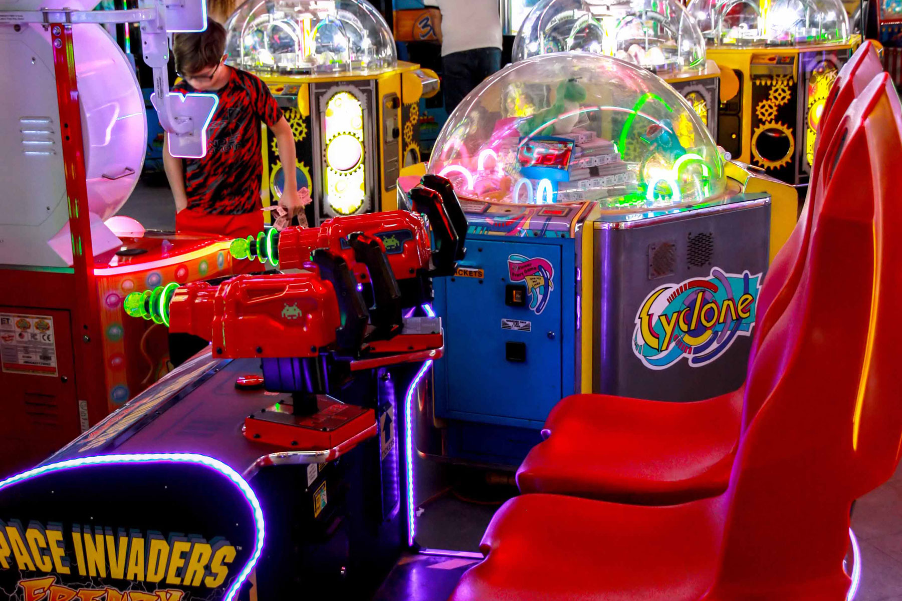 Space Invaders, Big Bass Wheels | Arcade Banner | Palace Playland | Old Orchard Beach, ME