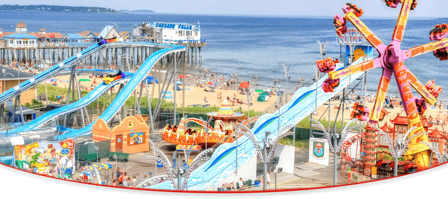 Home Page Slider | Powersurge, Kiddieland, and Beach | Background | Palace Playland | Old Orchard Beach, ME
